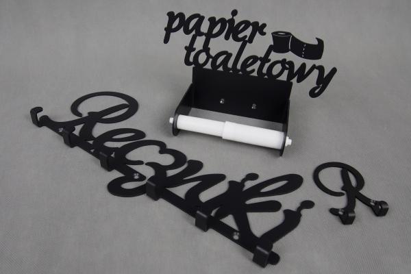 Zestaw MAXI Wieszaków Łazienkowych: 2 wieszaki na ręczniki + uchwyt na papier toaletowy