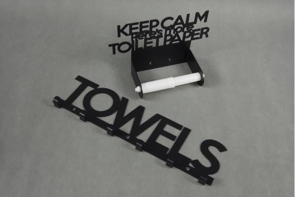 Zestaw ANGIELSKI Wieszaków Łazienkowych: wieszak na ręczniki + uchwyt na papier toaletowy