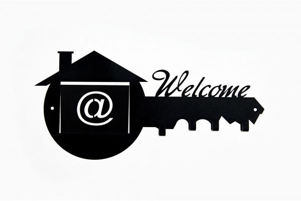 Wieszak na klucze z miejscem na pocztę Welcome